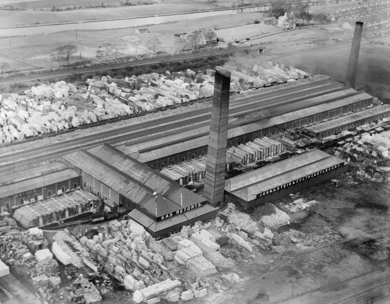 Oblique aerial view of John G Stein and Co. Ltd., Castlecary Brickworks.