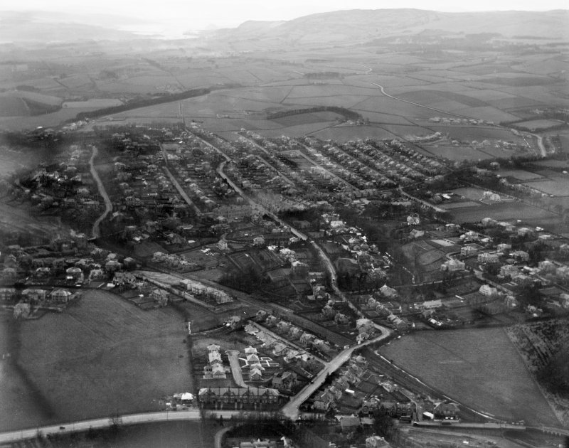 Bearsden.  Oblique aerial photograph taken facing north.