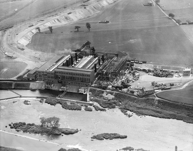 Oblique aerial photograph taken facing south showing Clydesmill Power Station, Cambuslang, Glasgow, in 1928.