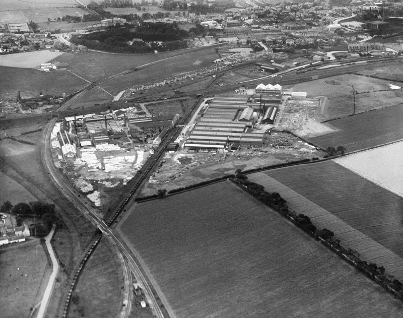 Shanks and Co. Ltd. Tubal Works, Victoria Road, Barrhead.  Oblique aerial photograph taken facing south.