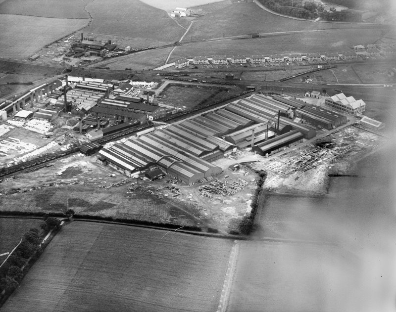Shanks and Co. Ltd. Tubal Works, Victoria Road, Barrhead.  Oblique aerial photograph taken facing east.