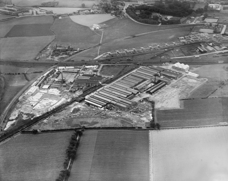 Shanks and Co. Ltd. Tubal Works, Victoria Road, Barrhead.  Oblique aerial photograph taken facing south-east.