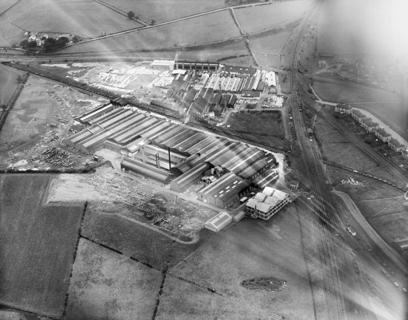 Shanks and Co. Ltd. Tubal Works, Victoria Road, Barrhead.  Oblique aerial photograph taken facing north-east.