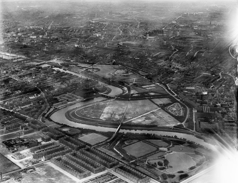 Glasgow, general view, showing Glasgow Green and River Clyde.  Oblique aerial photograph taken facing north.