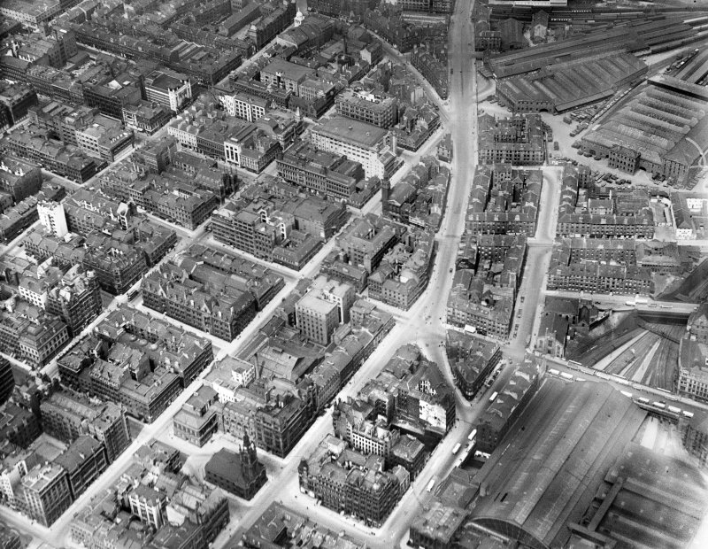 Glasgow, general view, showing West Nile Street and Bath Street.  Oblique aerial photograph taken facing north.