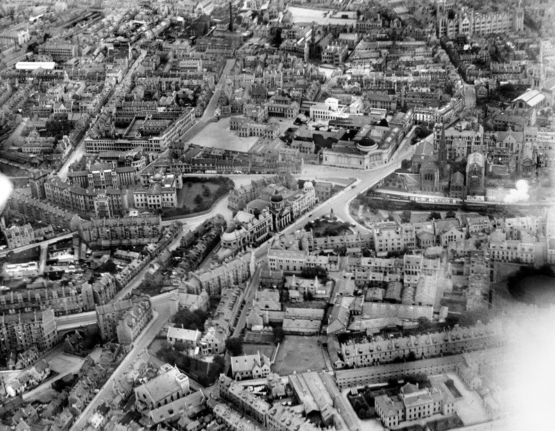Aberdeen, general view, showing St Mark's Church, Aberdeen Royal Infirmary and Robert Gordon's College.  Oblique aerial photograph taken facing north-east.