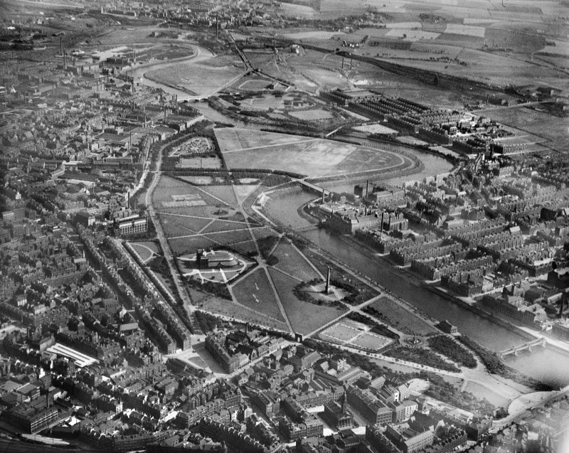 Glasgow, general view, showing Glasgow Green and River Clyde.  Oblique aerial photograph taken facing south.
