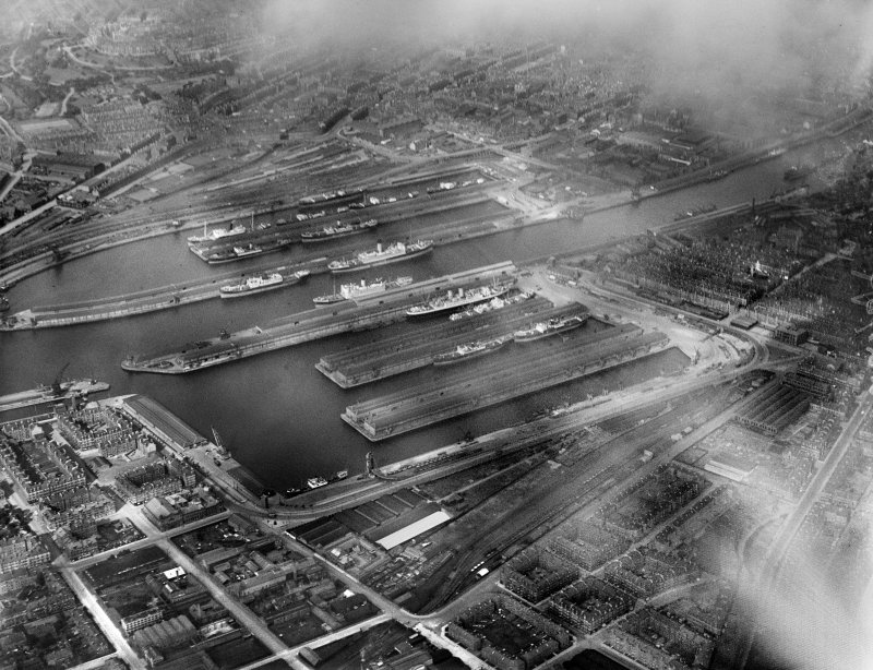 Queen's Dock and Prince's Dock, Glasgow.  Oblique aerial photograph taken facing north-east.