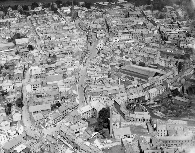 Dumfries, general view, showing High Street and Shakespeare Street.  Oblique aerial photograph taken facing north.
