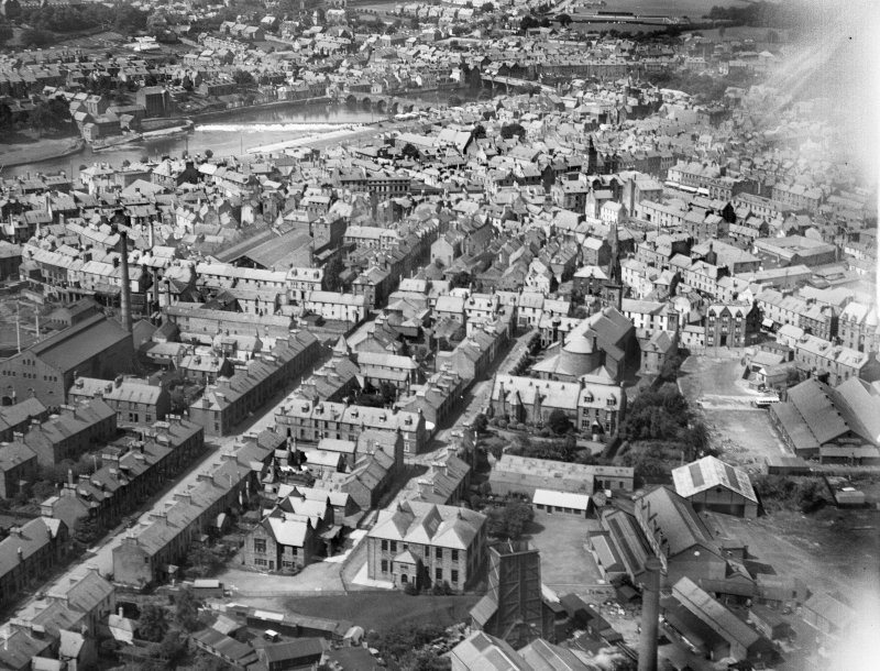 Dumfries, general view, showing St Andrew's Cathedral, Brooke Street and Shakespeare Street.  Oblique aerial photograph taken facing west.