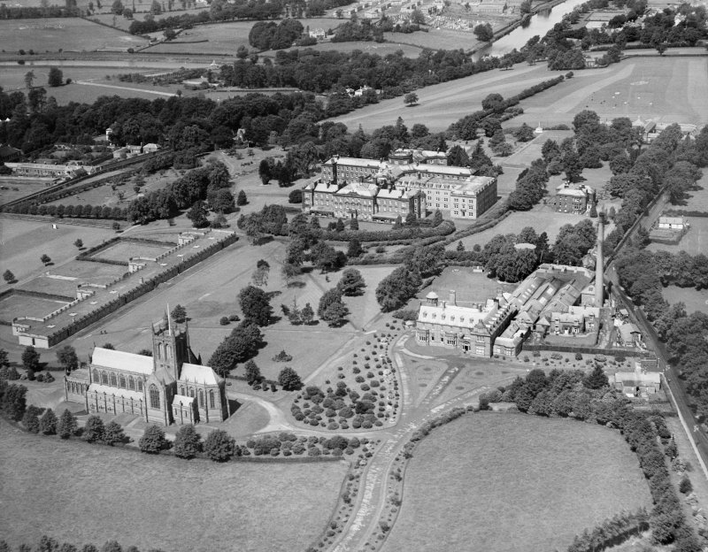 Crichton Royal Hospital, Bankend Road, Dumfries.  Oblique aerial photograph taken facing north.