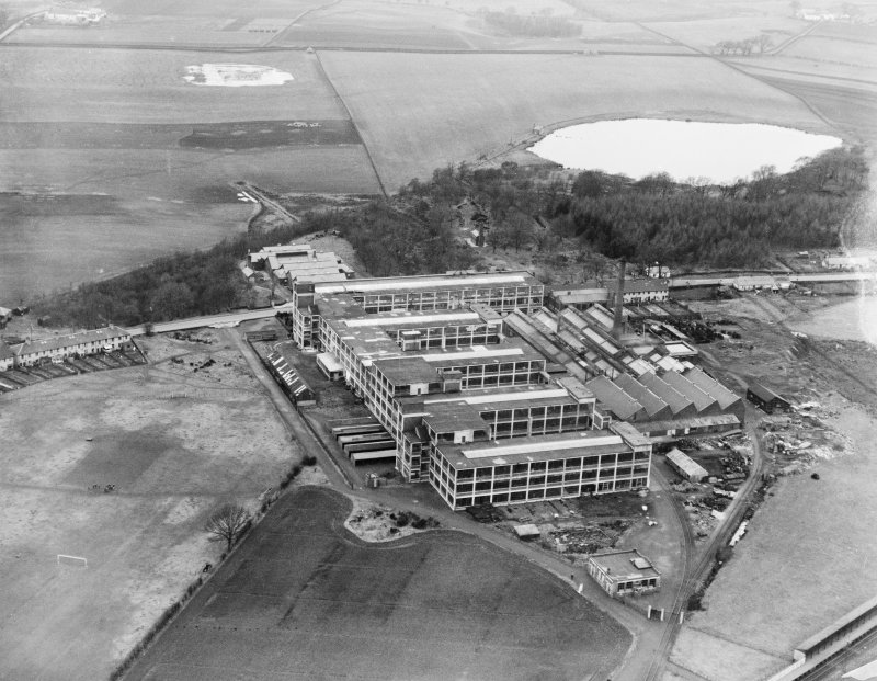 Arrol-Aster Car Factory, Heathhall, Dumfries.  Oblique aerial photograph taken facing north-west.