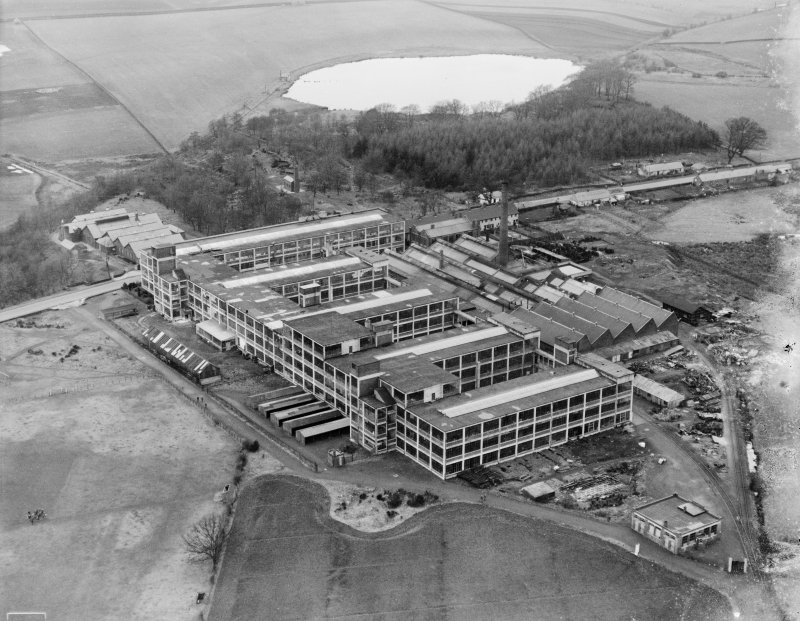 Arrol-Aster Car Factory, Heathhall, Dumfries.  Oblique aerial photograph taken facing north.