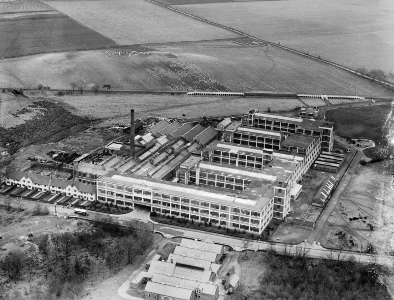 Arrol-Aster Car Factory, Heathhall, Dumfries.  Oblique aerial photograph taken facing east.