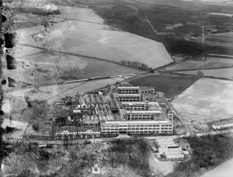 Arrol-Aster Car Factory, Heathhall, Dumfries.  Oblique aerial photograph taken facing east.  This image has been produced from a damaged negative.