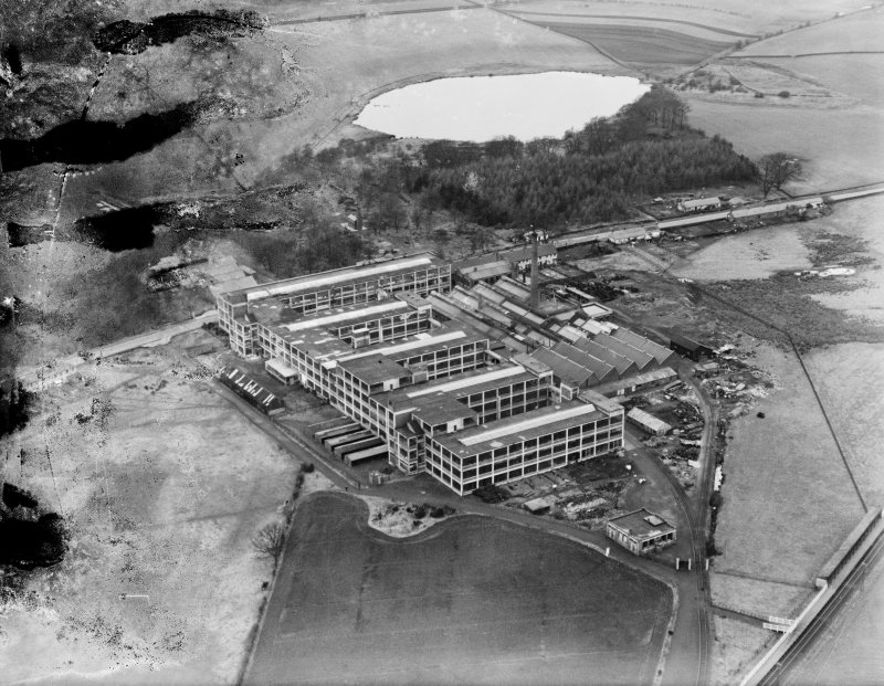 Arrol-Aster Car Factory, Heathhall, Dumfries.  Oblique aerial photograph taken facing north.  This image has been produced from a damaged negative.