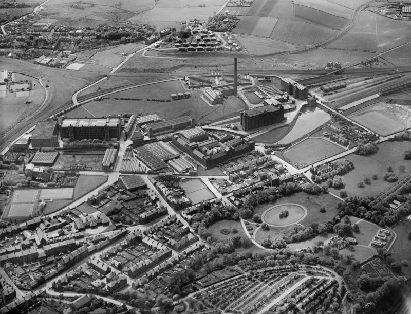 J and P Coats Ltd. Ferguslie Mills Thread Works, Paisley.  Oblique aerial photograph taken facing south.