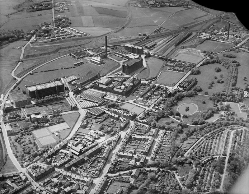 J and P Coats Ltd. Ferguslie Mills Thread Works, Paisley.  Oblique aerial photograph taken facing south-west.