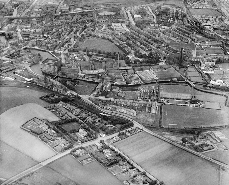Clark and Co. Anchor Mills Thread Works, Paisley.  Oblique aerial photograph taken facing north.