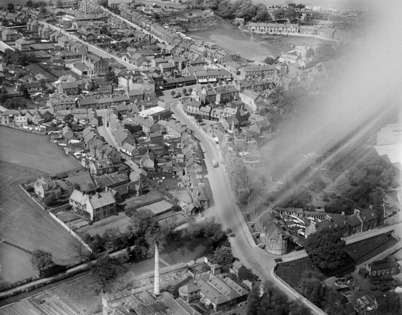 Penicuik, general view, showing Bridge Street and High Street.  Oblique aerial photograph taken facing north.