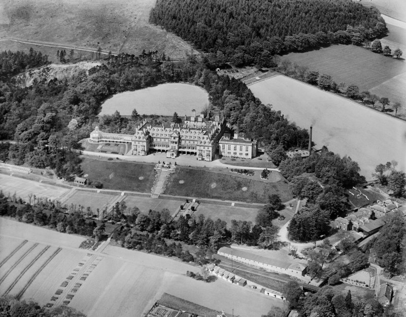 Hydro Hotel, Innerleithen Road, Peebles.  Oblique aerial photograph taken facing north.