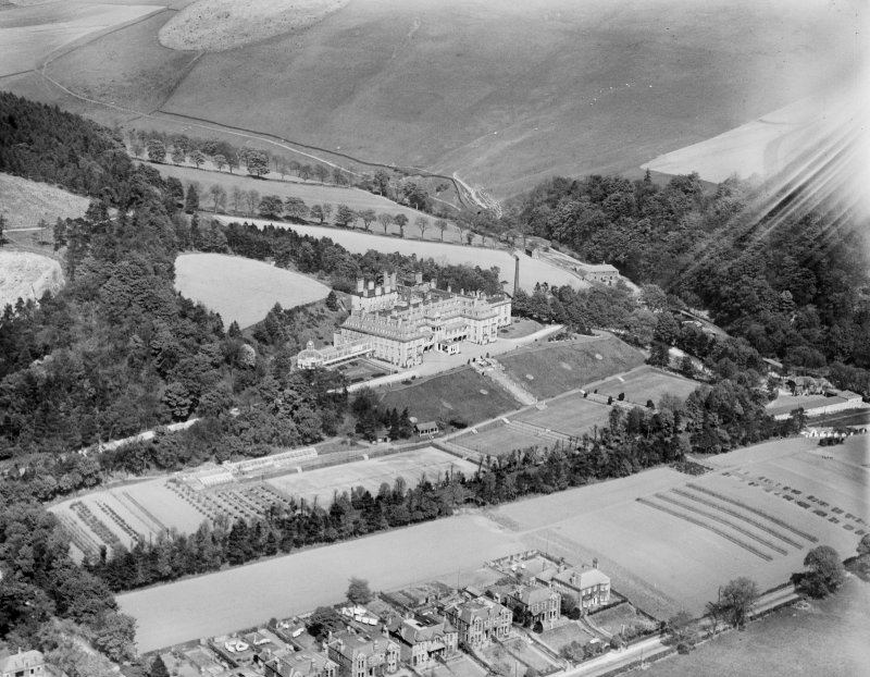 Hydro Hotel, Innerleithen Road, Peebles.  Oblique aerial photograph taken facing north-east.