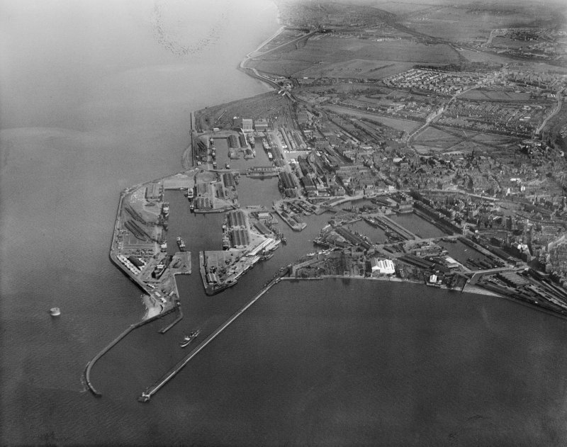 Leith Docks, Edinburgh.  Oblique aerial photograph taken facing south-east.