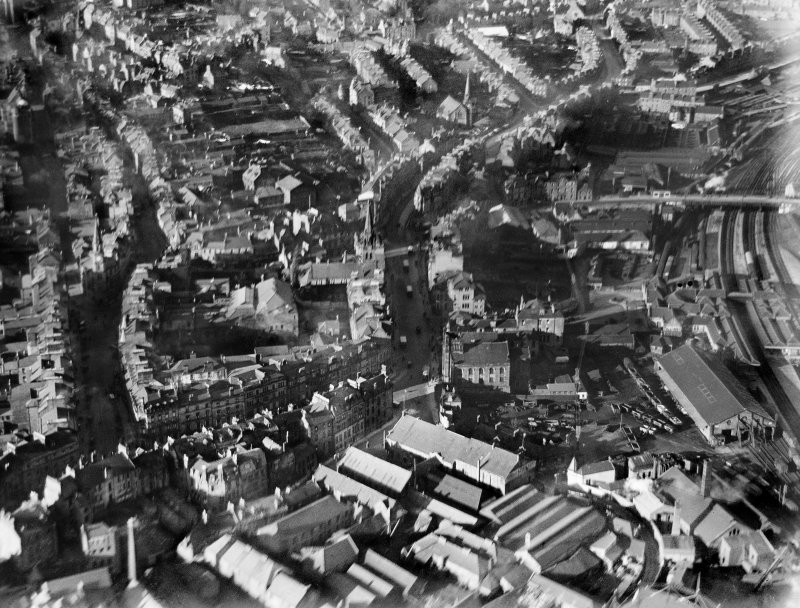 Stirling, general view, showing Stirling Station and South Church.  Oblique aerial photograph taken facing north.