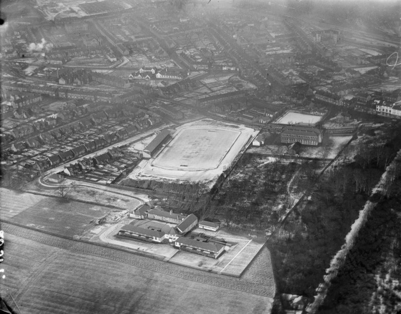 Motherwell Football Club, Knowtop Avenue, Motherwell.  Oblique aerial photograph taken facing north.