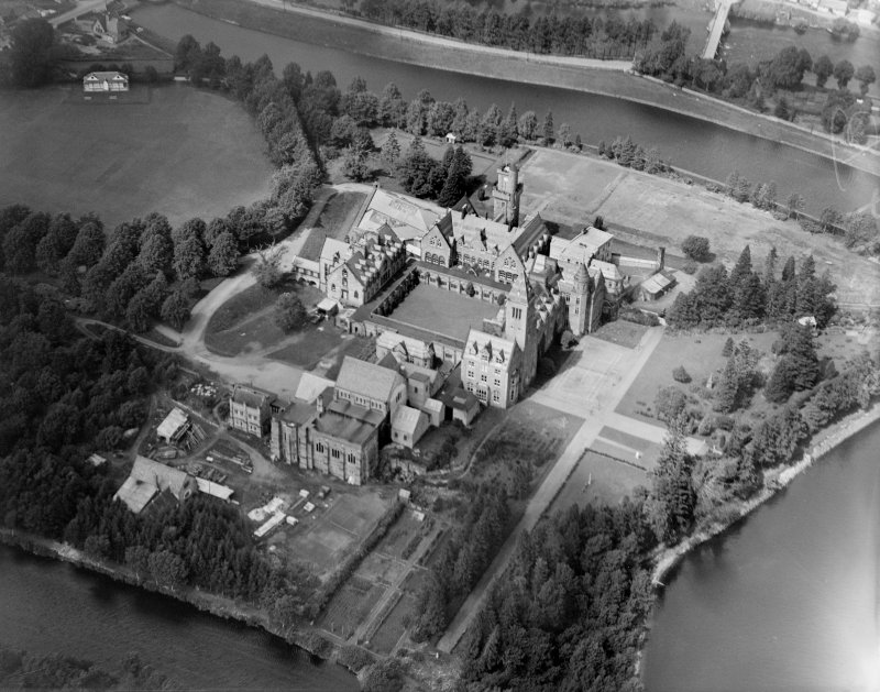 St Benedict's Abbey, Fort Augustus.  Oblique aerial photograph taken facing north-west.