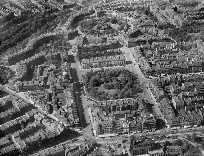 Edinburgh, general view, showing Charlotte Square and Moray Place Gardens.  Oblique aerial photograph taken facing north.