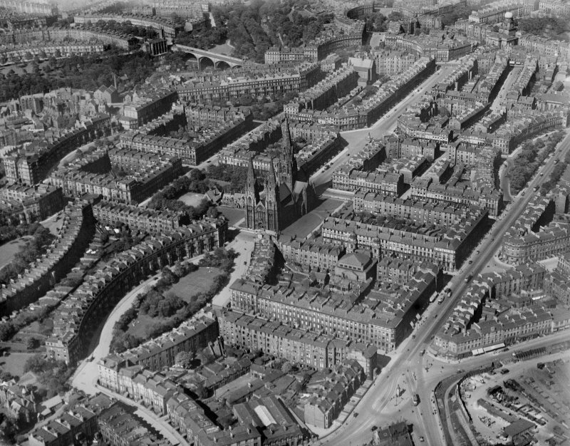 Edinburgh, general view, showing Grosvenor and Lansdowne Crescents, St Mary's Episcopal Cathedral and Melville Street.  Oblique aerial photograph taken facing north.