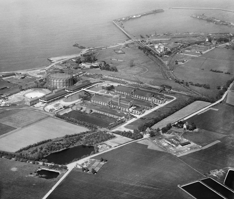 Granton Gasworks, Edinburgh.  Oblique aerial photograph taken facing north-east.