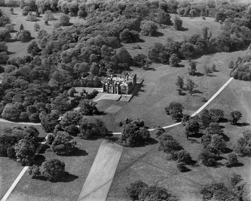 Dalmeny House, Edinburgh.  Oblique aerial photograph taken facing north-west.