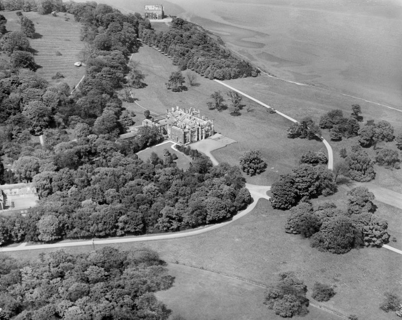 Dalmeny House, Edinburgh.  Oblique aerial photograph taken facing north.