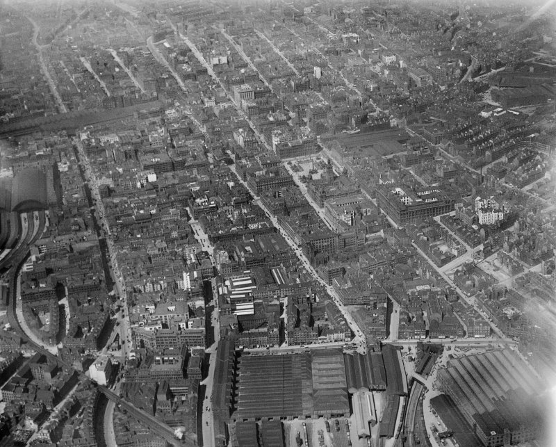 Glasgow, general view, showing George Square, Queen Street Station and Ingram Street.  Oblique aerial photograph taken facing north-west.