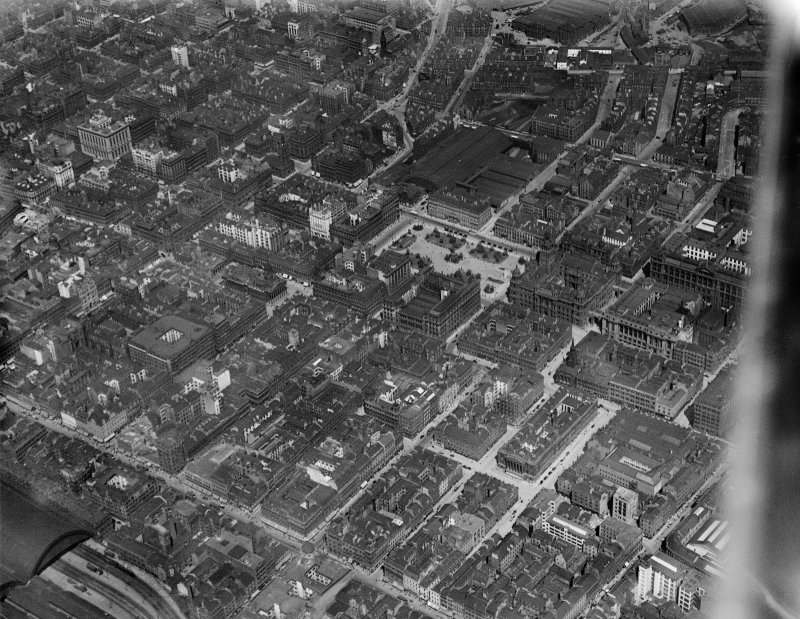 Glasgow, general view, showing George Square, Queen Street Station and Argyle Street.  Oblique aerial photograph taken facing north.