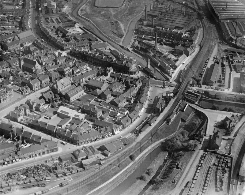 Coatbridge, general view, showing Coatbridge Cross and Sunnyside Road.  Oblique aerial photograph taken facing south-east.