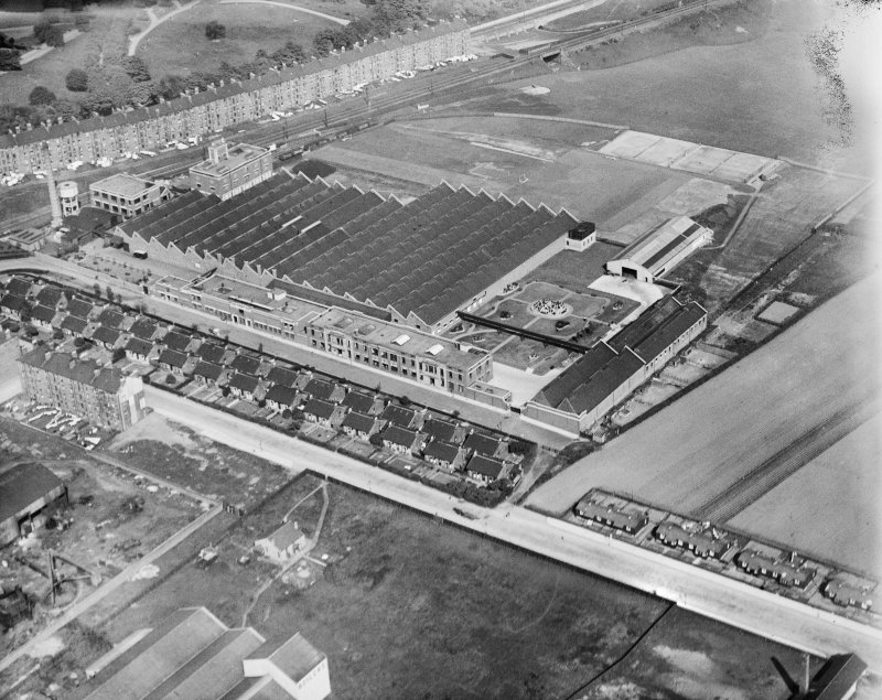 Macfarlane, Lang and Co. Biscuit Factory, Clydeford Drive, Glasgow.  Oblique aerial photograph taken facing east.