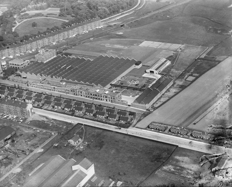 Macfarlane, Lang and Co. Biscuit Factory, Clydeford Drive, Glasgow.  Oblique aerial photograph taken facing east.  This image has been produced from a damaged negative.