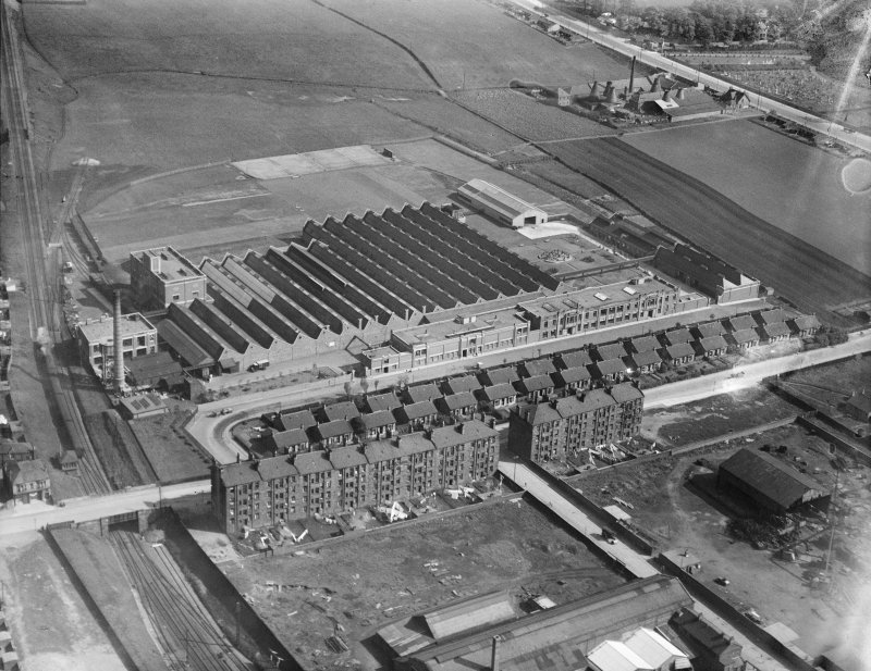 Macfarlane, Lang and Co. Biscuit Factory, Clydeford Drive, Glasgow.  Oblique aerial photograph taken facing south-east.