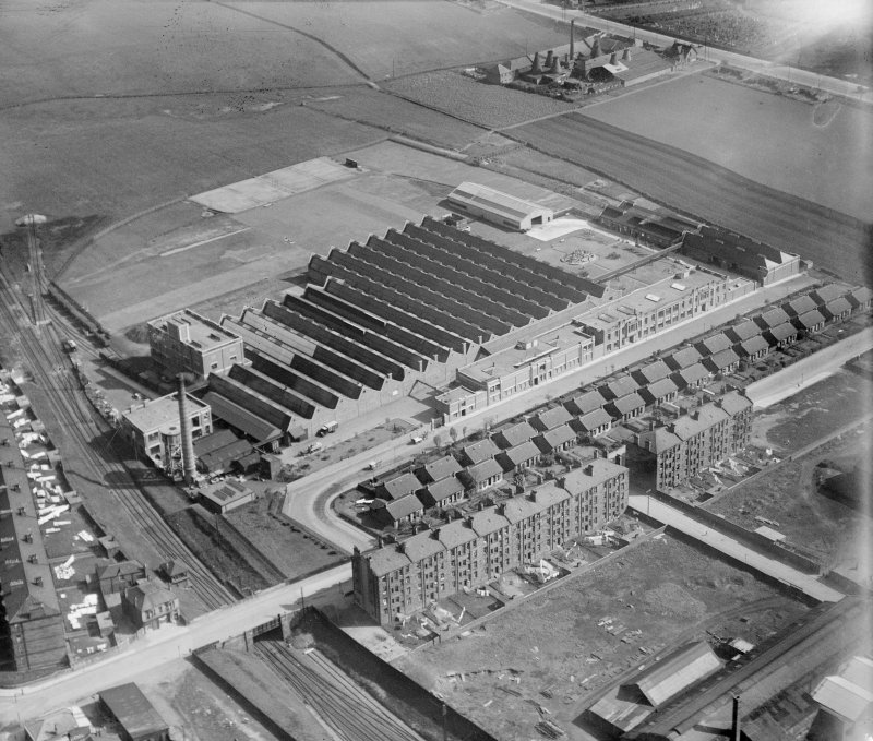 Macfarlane, Lang and Co. Biscuit Factory, Clydeford Drive, Glasgow.  Oblique aerial photograph taken facing south.