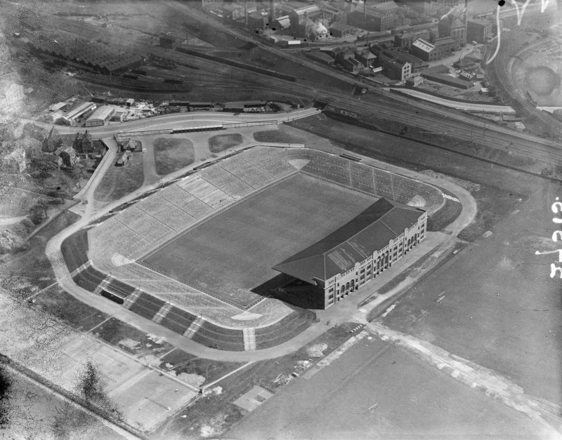Murrayfield Rugby Football Ground, Roseburn Street, Edinburgh.  Oblique aerial photograph taken facing south-east.  This image has been produced from a damaged negative.