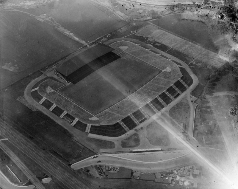 Murrayfield Rugby Football Ground, Roseburn Street, Edinburgh.  Oblique aerial photograph taken facing north-west.  This image has been produced from a damaged negative.