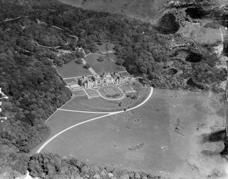 Gosford House, Aberlady.  Oblique aerial photograph taken facing east.  This image has been produced from a damaged negative.
