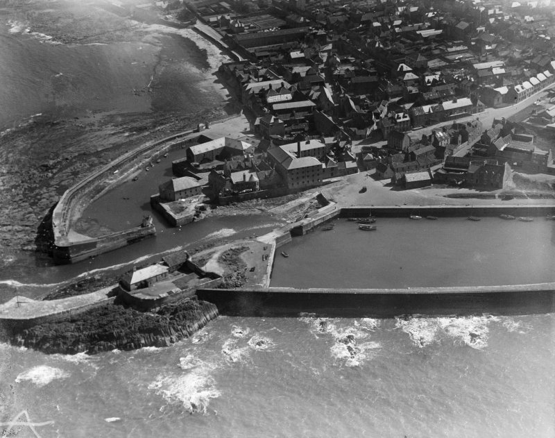 Victoria Harbour and Old Harbour, Dunbar.  Oblique aerial photograph taken facing south.