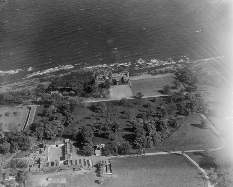 Wemyss Castle, Wemyss.  Oblique aerial photograph taken facing south-east.