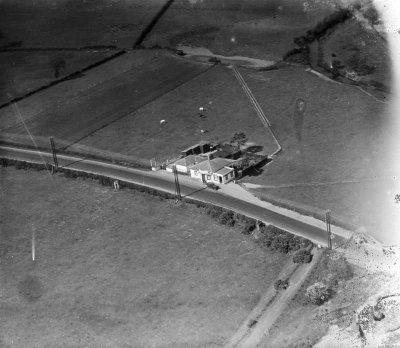 Old Toll Bar, Gretna.  Oblique aerial photograph taken facing north.  This image has been produced from a damaged negative.