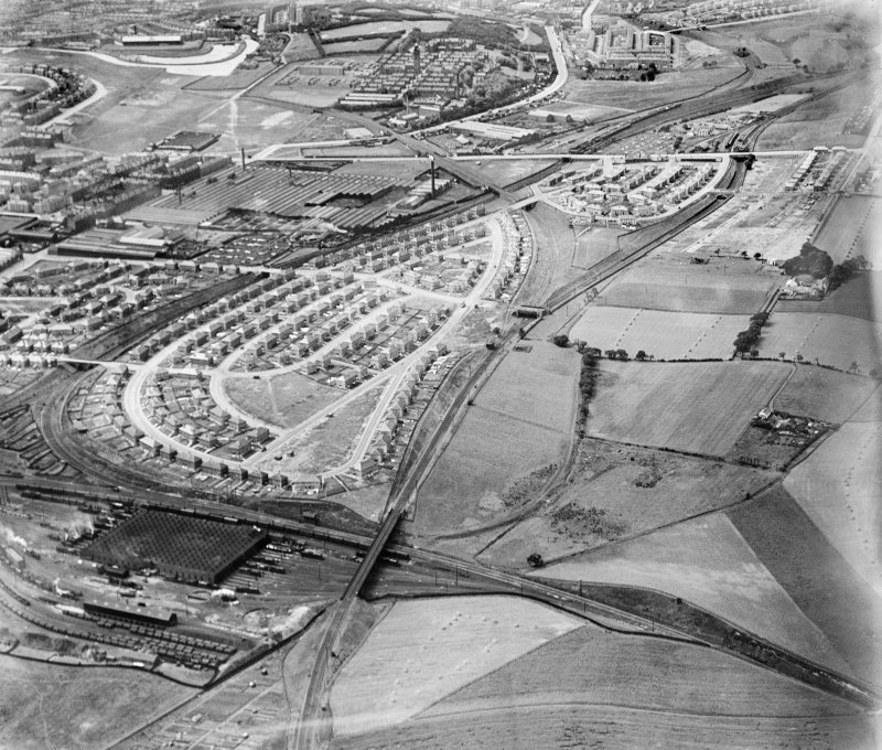 Glasgow, general view, showing Saracen Foundry, Possilpark and Ashfield Housing Estate.  Oblique aerial photograph taken facing west.
