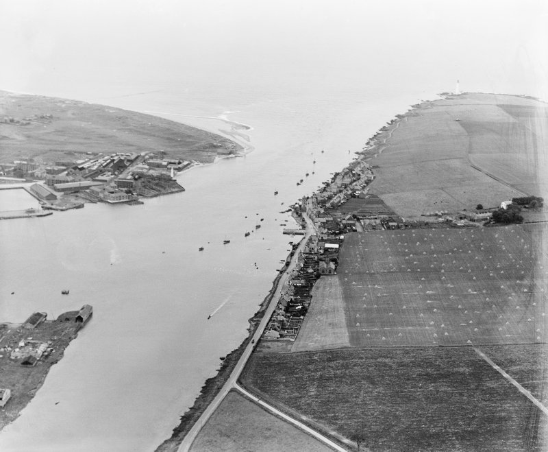 Montrose, general view, showing Ferryden and Montrose Harbour.  Oblique aerial photograph taken facing east.